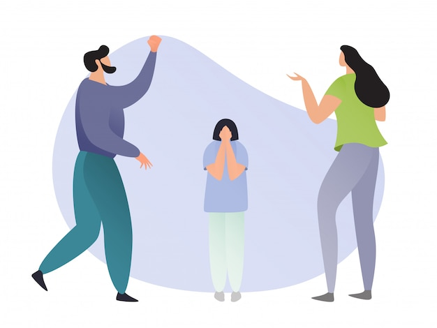 Family scolding on their child. cartoon mother, father and child on white background, man, woman and boy