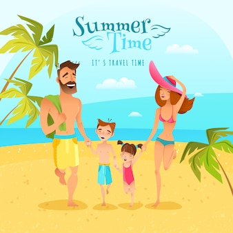 Family season summer illustration