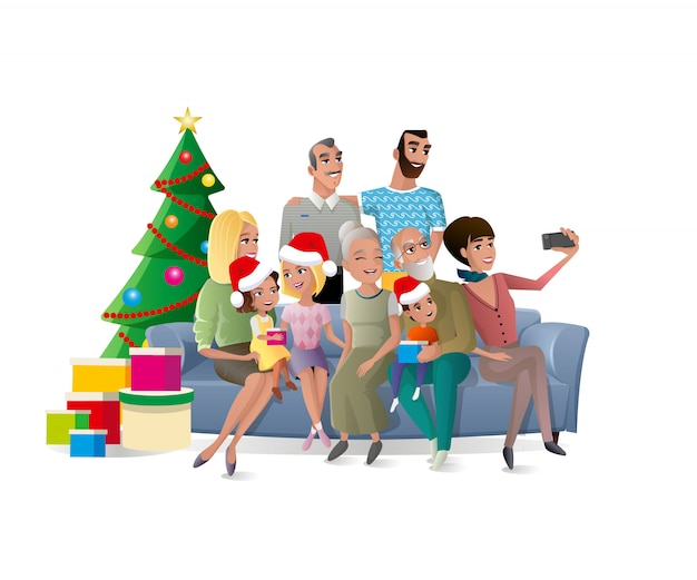 Family selfie at christmas party cartoon vector