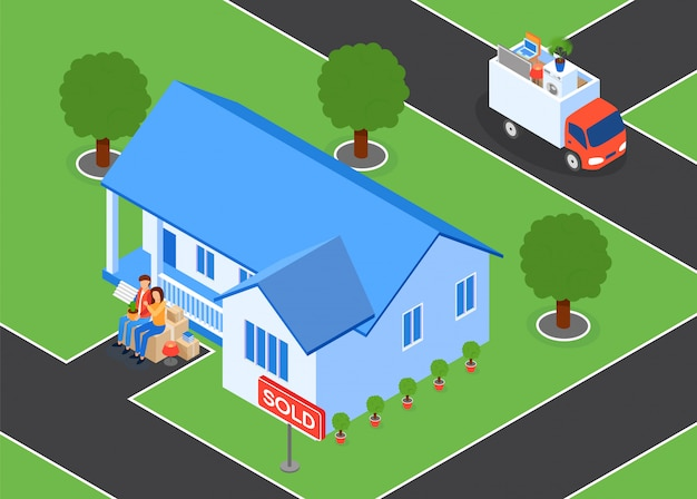 Family sells house and leaves vector illustration.
