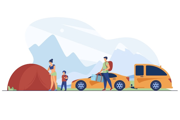 Family setting up camp in mountains. tourists with kid near tent and car flat vector illustration. vacation, family travel, adventure concept