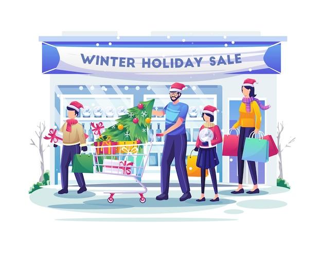 자녀와 함께 시장에서 쇼핑하는 가족은 상품과 선물을 구입합니다. 크리스마스 판매 그림
