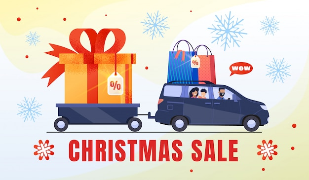 Family shopping on christmas sale banner