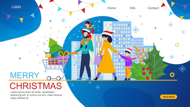 Family shopping on christmas sale vector website