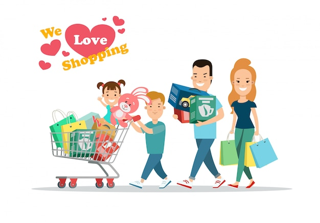 Семейные торговые концепции. родители и дети с покупками на тележке vector иллюстрация.