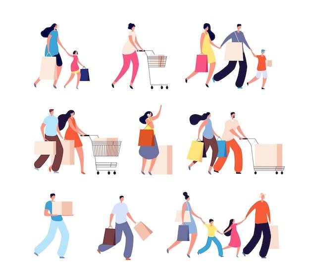 Семейный шоппинг. потребители, женщина покупает еду или одежду