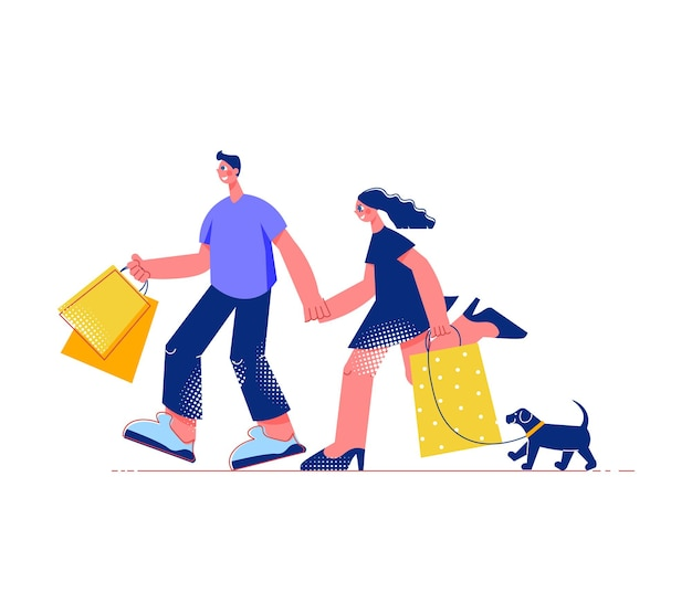 Family shopping flat composition with male and female characters with shopping bags and dog