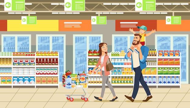 슈퍼마켓에서 쇼핑하는 가족 프리미엄 벡터