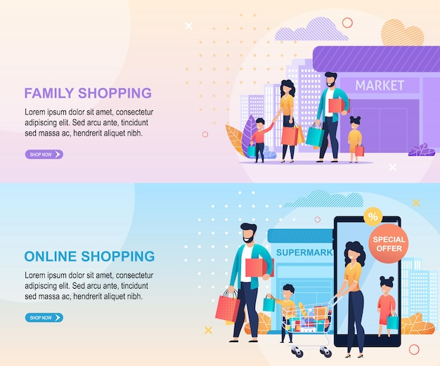Family shopping at mall and online landing page template