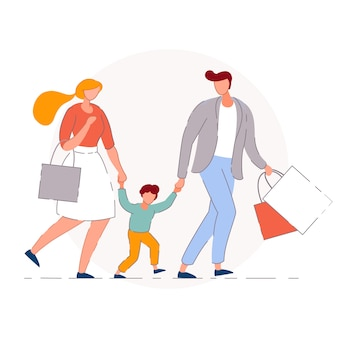 Family shopping.   mother, father and son kid buyers people cartoon characters walking together and carrying shopping bags. retail store sale and family shopping concept