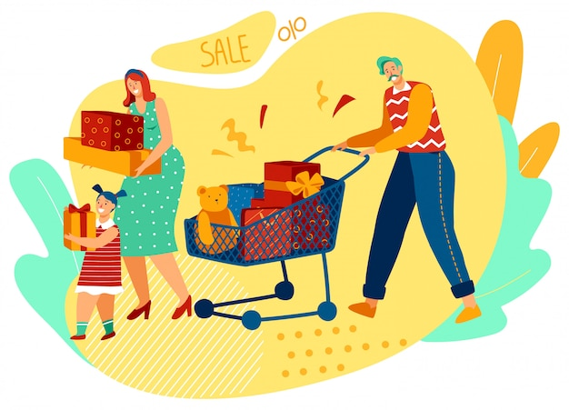 Family shopping together, happy parents and daughter buying presents, vector illustration