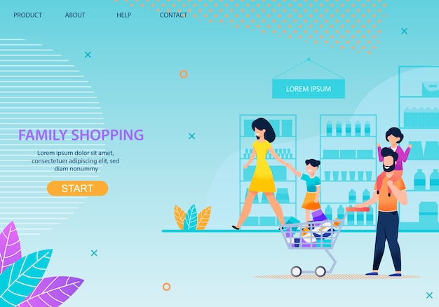 Family shopping together landing page template