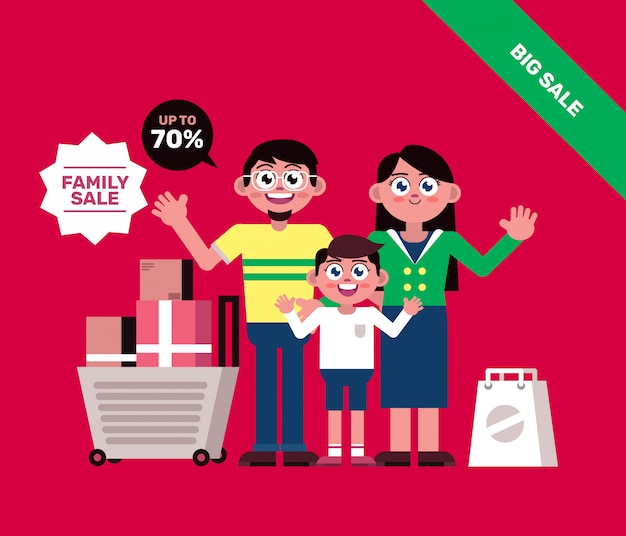 Family shopping with cart  banner