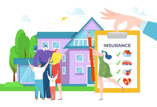Family sign business insurance concept