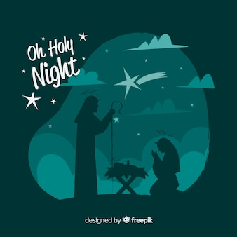 Family silhouette nativity background