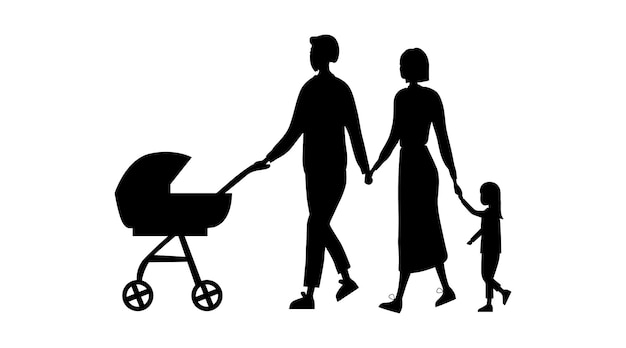 Family silhouettes isolated on the white background.