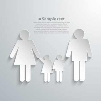 Family silhouettes with shadow art. vector illustration