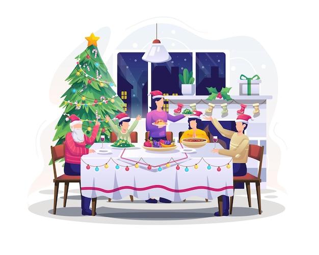 Семья сидит за столом и обедает, празднует рождество и новогоднюю иллюстрацию