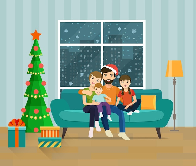 Family sitting on sofa in the living room. happy new year and merry christmas. vector flat illustration.