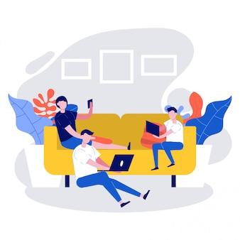 집에서 함께 앉아 디지털 장치를 사용하는 가족. 소셜 미디어에 중독의 개념.
