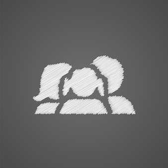 Family sketch logo doodle icon isolated on dark background