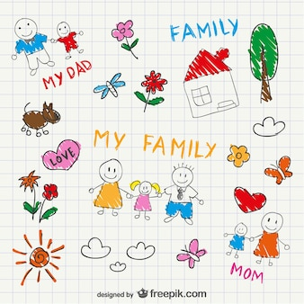 Theis 하우스와 개 스케치 가족