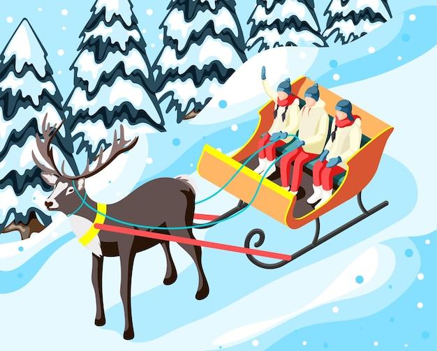 Famiglia in slitta trainata da renne nel parco o nella foresta durante l'illustrazione isometrica delle vacanze invernali