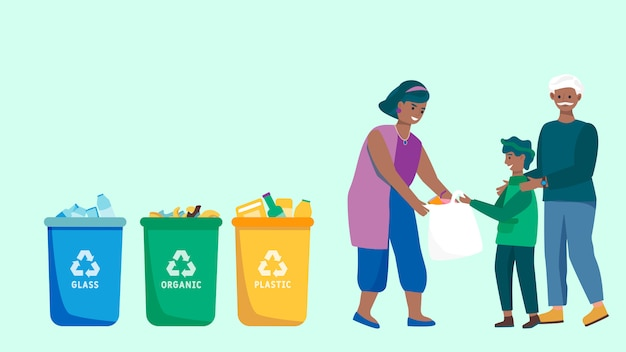 Family sorting trash and recycling waste, people collecting garbage, vector illustration