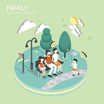 家族は等尺性グラフィックのコンセプトを一緒に時間を過ごす