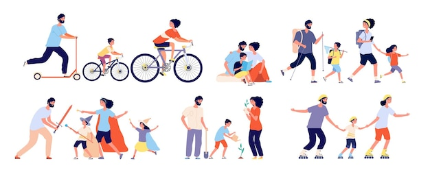Family spend time together. happy loving families leisure. reading book, painting and planting tree, playing sports game vector set. family together daughter, son and parents illustration