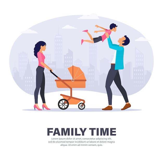 가족은 야외에서 함께 시간을 보냅니다. 유모차와 그의 아들과 함께 연주 아버지와 어머니. 방문 페이지 디자인.
