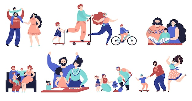 Family spend time together. parents walking, isolated kids play home and outdoor. young mother father reading drawing with child vector set. illustration family together spare time happiness
