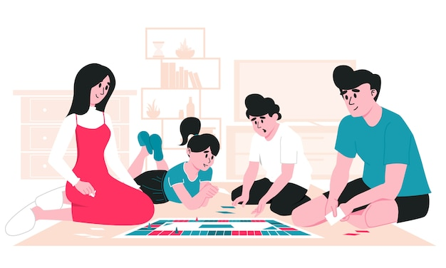 Family spending leisure time together. mother, father, daughter and son playing board game on the floor at living room. stay at home with children. parenting and daycare in quarantine lockdown.