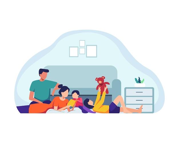 一緒に時間を過ごす家族。家で親と子供、家で子供と遊んでいる母と父。家族の屋内活動、幸せなお父さん、お母さんと子供たちが遊んでいます。フラットスタイルのベクトル図