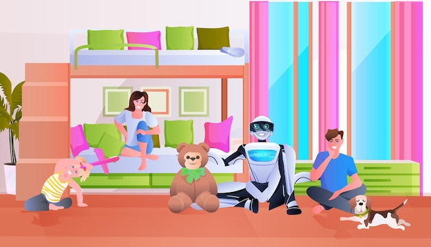 Family spending time with modern robot artificial intelligence technology concept