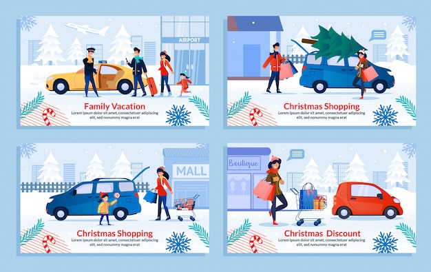 Family spending winter holidays flat banner set