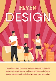 Концепция семейной спортивной деятельности. родители и ребенок поднимают тяжести, занимаются с гантелями дома. шаблон флаера