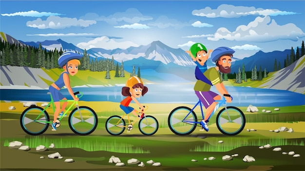 Family sport bicycle walk composition with outdoor beautiful landscape sky