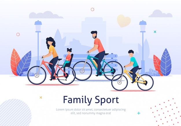 Family sport, parents and kids riding bicycles.