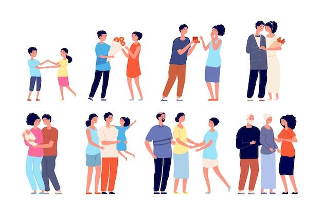 가족 단계. 아이, 고립 된 젊은 부모 신생아와 커플. 평평한 여자 남자 다른 나이, 딸 출생, 결혼 벡터 삽화. 가족 결혼, 아이와 함께 커플 프리미엄 벡터