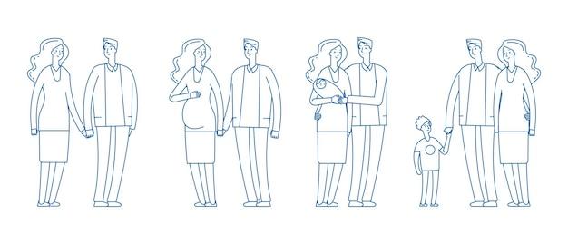 가족 단계. 젊은 부부, 임신 부모. 데이트에서 아이까지 어른 남자 여자. 행복 한 부모 벡터 일러스트 레이 션. 아기, 아버지, 모성이 함께 있는 가족 커플