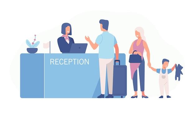 가족이 공항 체크인 카운터 또는 등록 데스크에 서서 여성 노동자와 이야기합니다. 호텔 로비에서 관광객 또는 여행자가있는 장면.