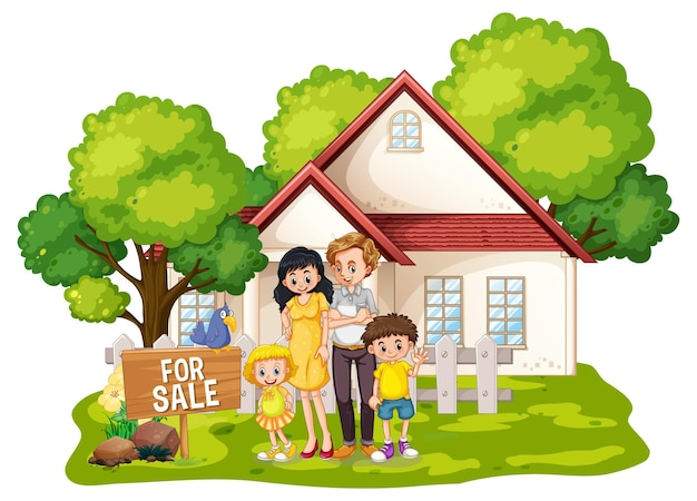 Family standing in front of a house for sale on white
