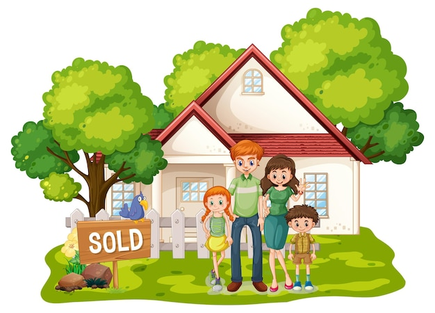 白で売りに出されている家の前に立っている家族