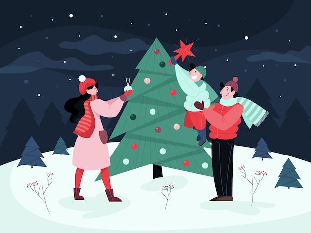 家族はクリスマスツリーで通りに立っています。伝統的な休日の装飾。幸せな人々。スタイルのイラスト