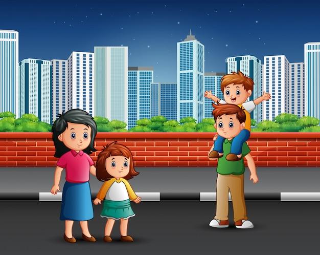 Family standing on the sidewalk