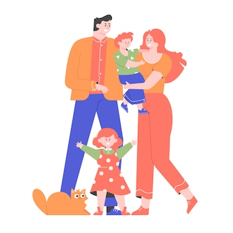 가족이 함께 서 있습니다. 아빠, 엄마, 아들, 딸, 고양이. 평면 그림.