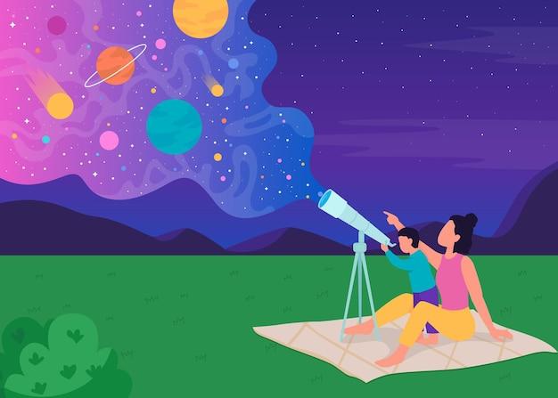 Семейное наблюдение за звездами с плоской цветной иллюстрацией телескопа