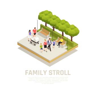 Family stroll concept with walk in the park in park symbols isometric