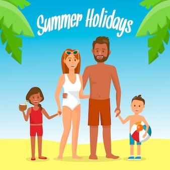 Family on summer holidays social media banner.